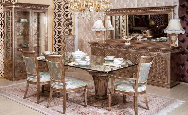 şık klasik yemek odası modeli