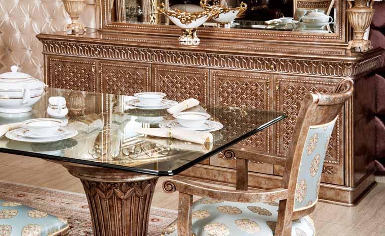bronz renk klasik yemek odası