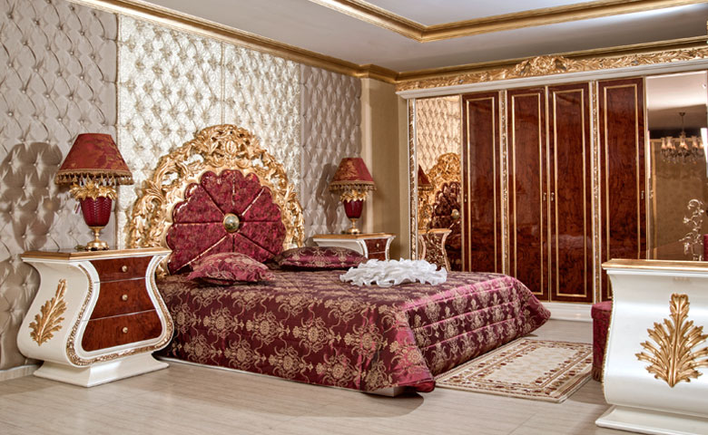 klasik el oymalı yatak odası