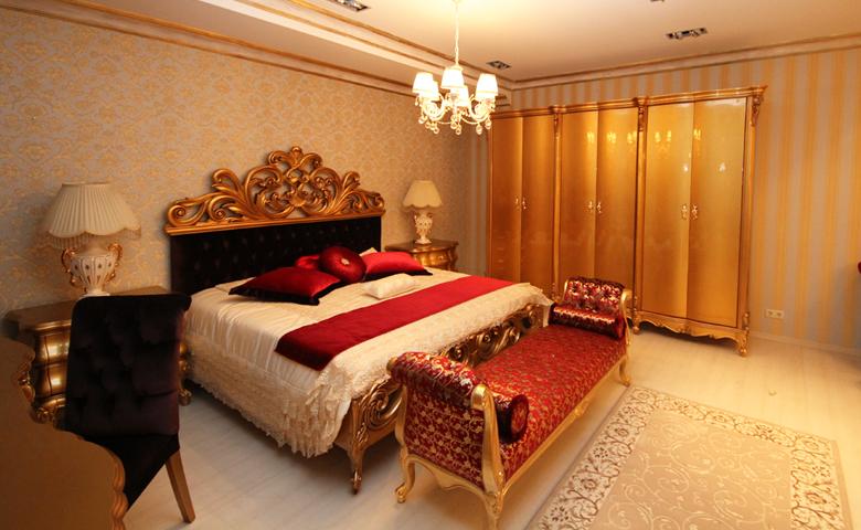 altın varak rengi yatak odası