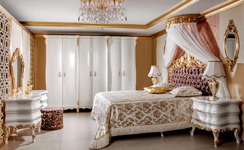 altın vatraklı klasik yatak odası
