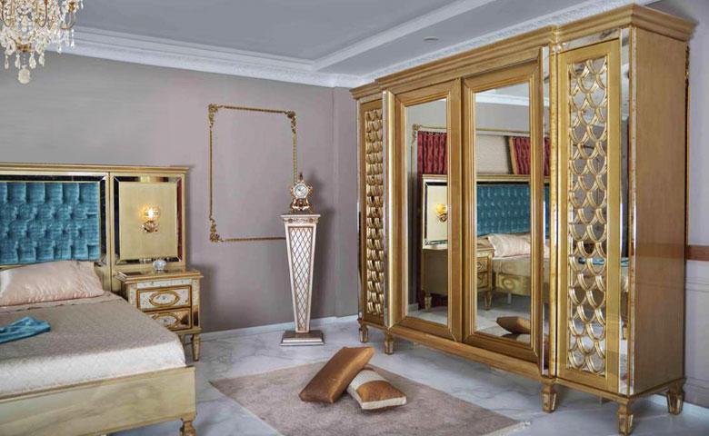 Klasik yatak odası aynalı gardırop