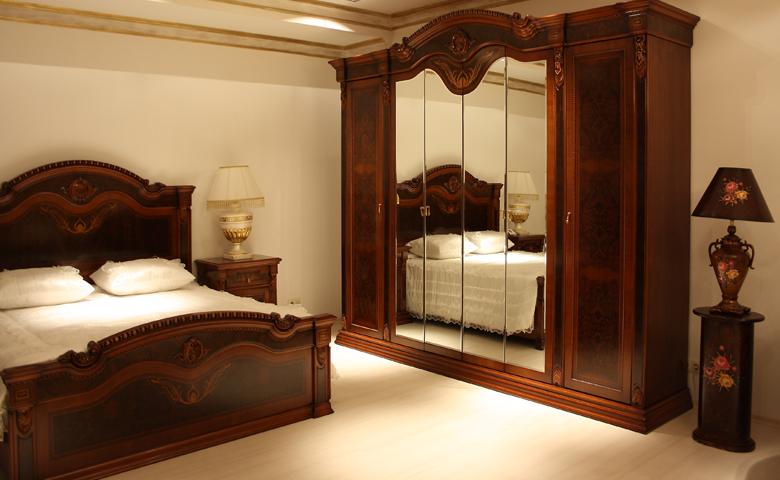klasik yatak odası ceviz dolap