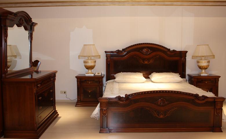 ceviz klasik yatak odası