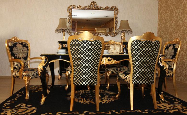 Yemek odası takımı altın varaklı