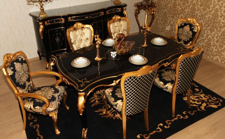 Siyah renk yemek odası