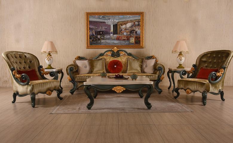 antik işlemeli klasik koltuk