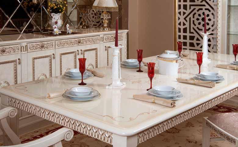 oymalı klasik yemek masası