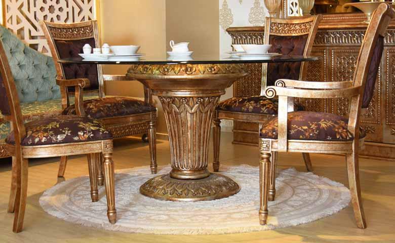 camlı klasik yemek masası