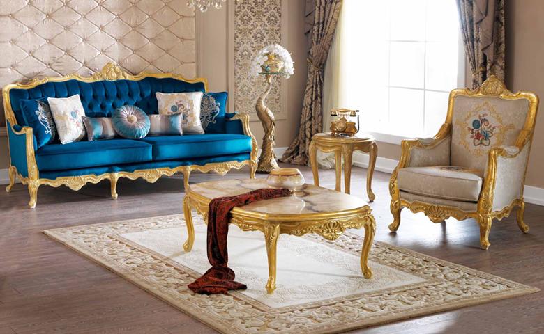 altın varaklı klasik koltuk