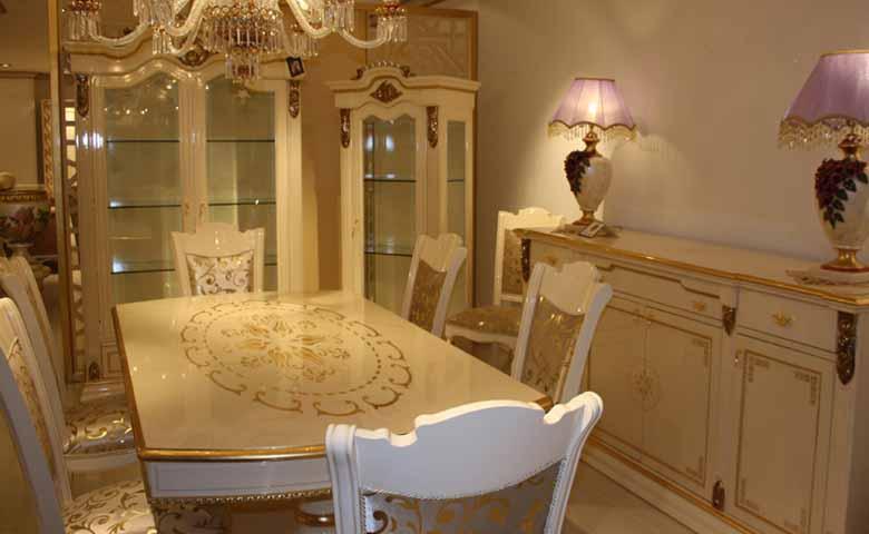 beyaz lake klasik yemek odası