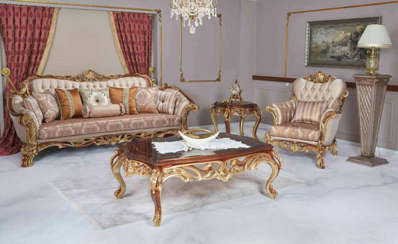 Klasik altın varaklı klasik koltuk modeli