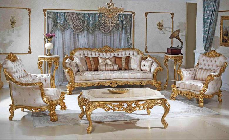 Lüks altın varaklı koltuk takımı